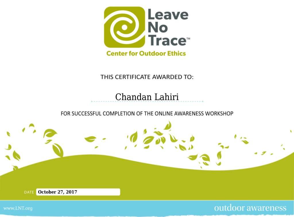 Chandan Lahiri Leave No Trace Certificate